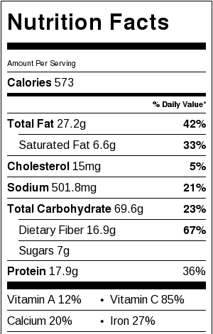 Quick Veggie and Rice Burritos Nutritional Facts