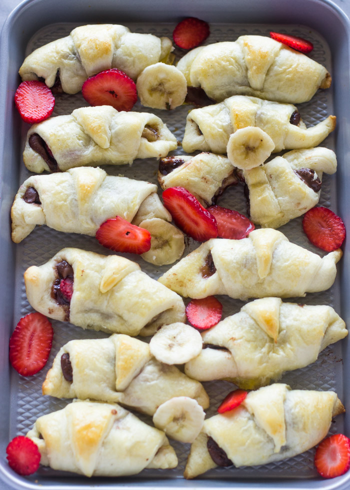 4 Ingredient Strawberry Banana Nutella Croissants