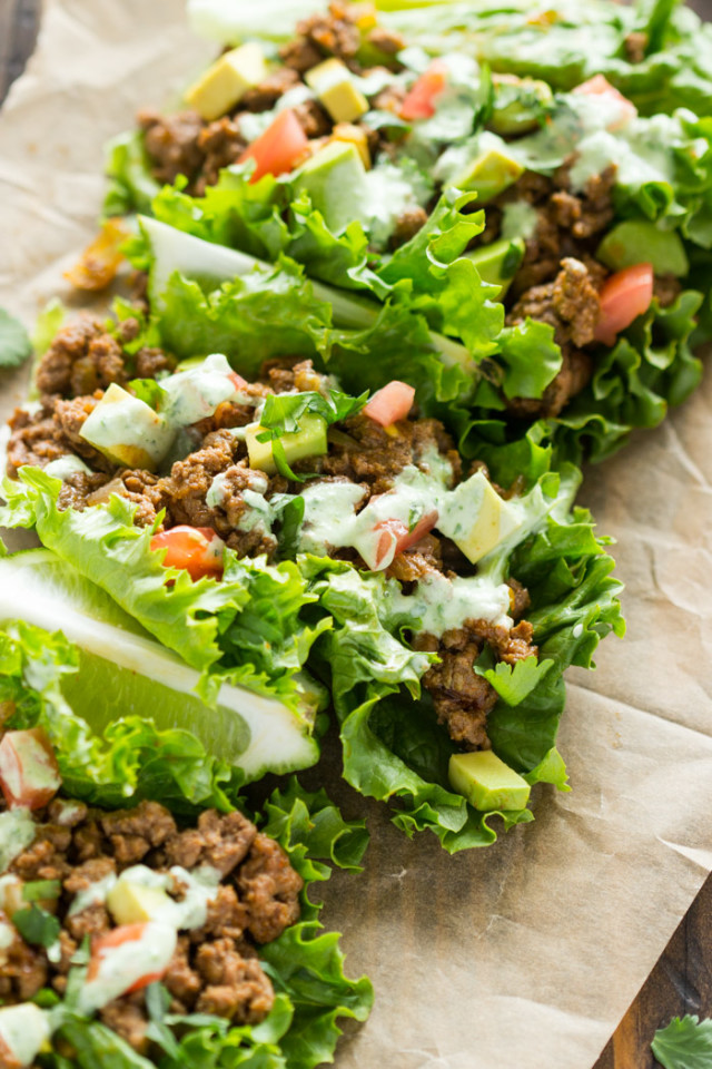 Beef Lettuce Wraps with Spicy Cilantro Jalapeno Sauce ...