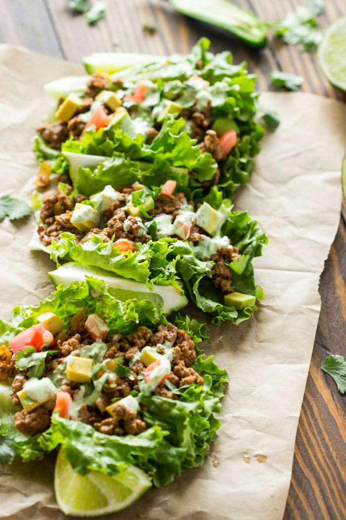 Beef Lettuce Wraps with Spicy Cilantro Jalapeno Sauce