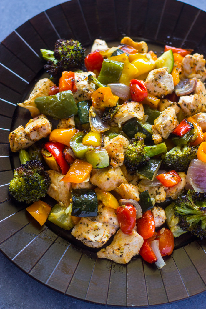 15 Minute Healthy Roasted Chicken And Veggies Video Gimme Delicious