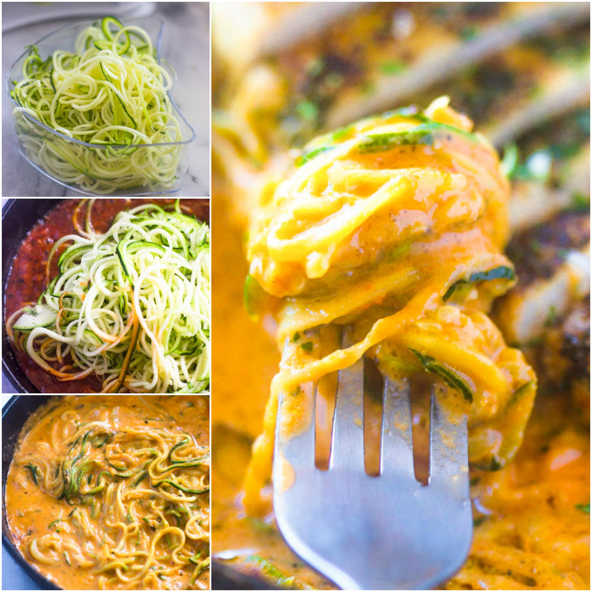 Quick Zucchini pasta with tomato cream sauce