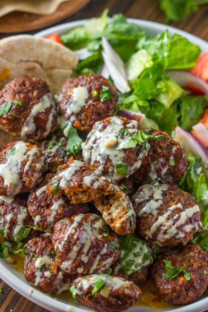 Easy Baked Kofta Patties with Tahini Sauce