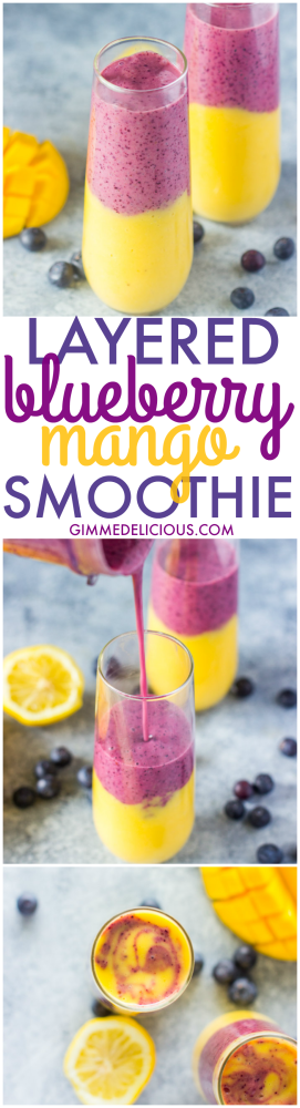 Layered Blueberry Mango Smoothies