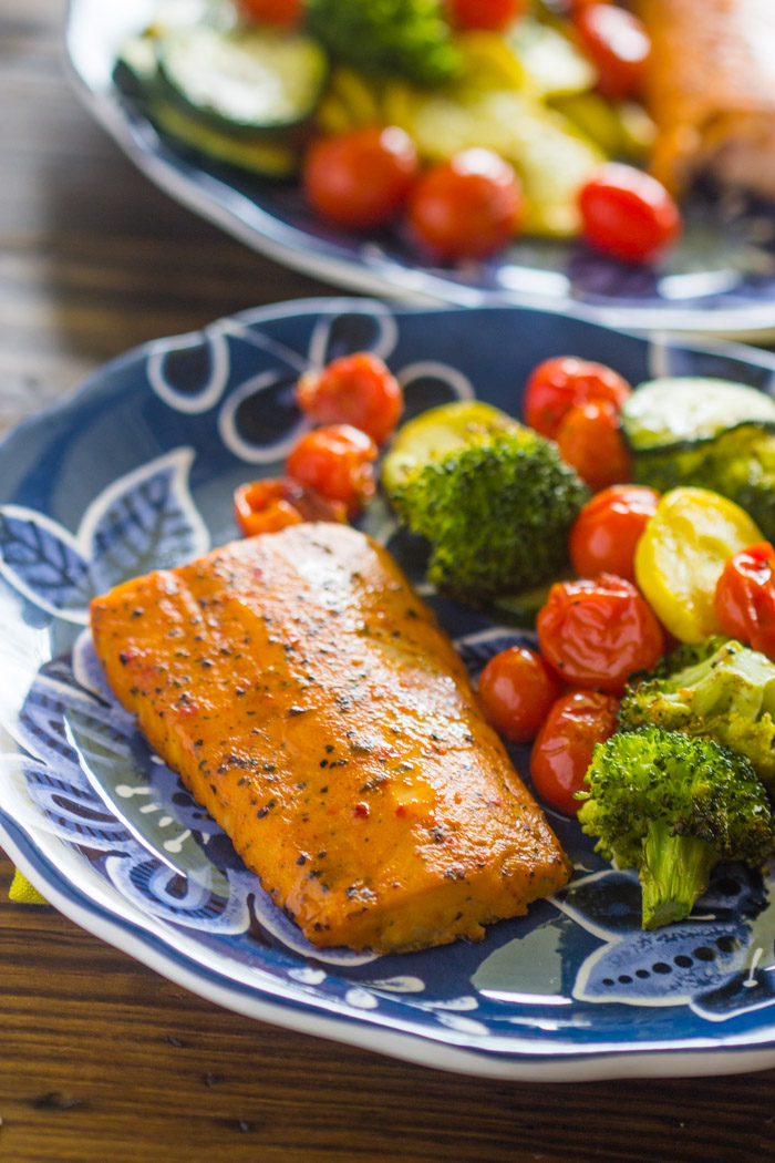 Easy One Pan Baked Salmon With Veggies Gimme Delicious
