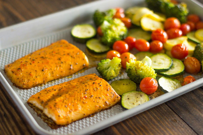 Easy One Pan Baked Salmon with Veggies