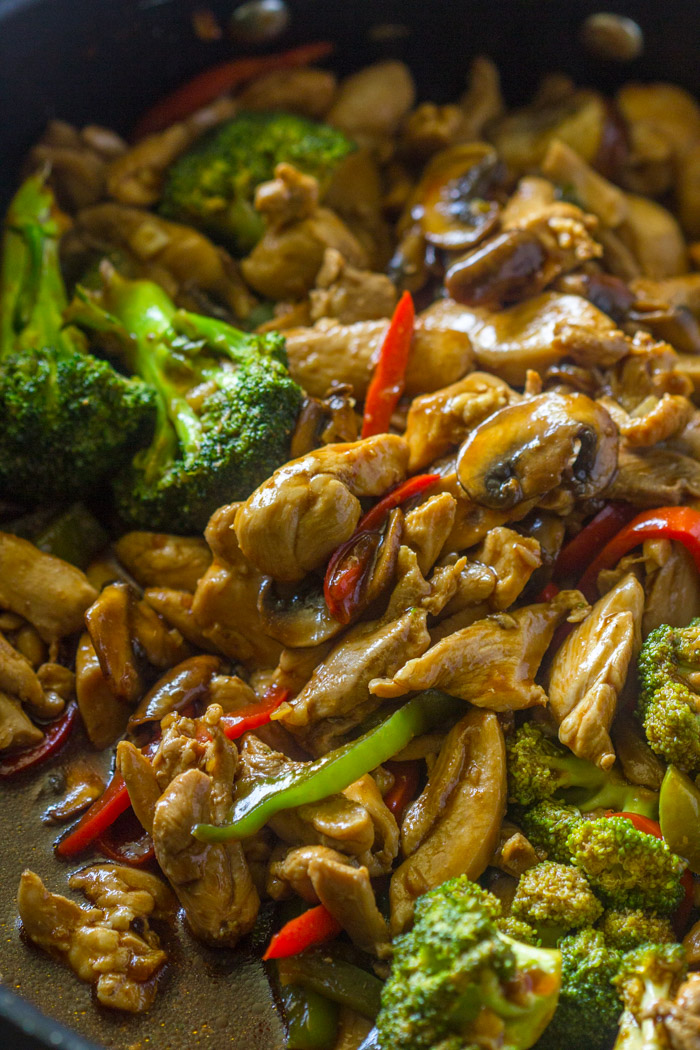 20 Minute Chicken Broccoli & Mushroom Stir-Fry | Gimme Delicious