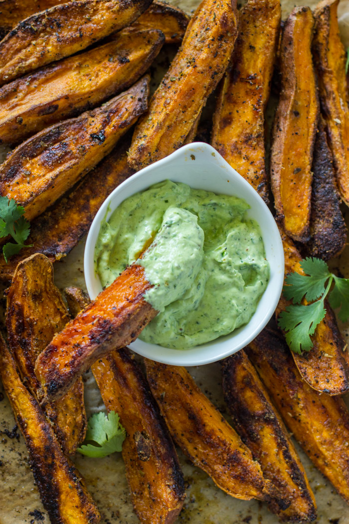 Crispy Baked Sweet Potato Wedges with Avocado Cilantro Dip