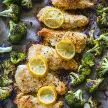 One Pan Baked Lemon Parmesan Chicken and Broccoli