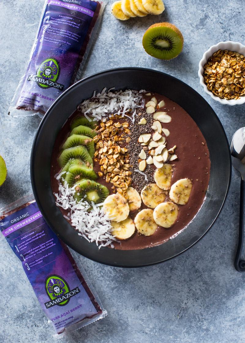 Chocolate Banana Acai Smoothie Bowls