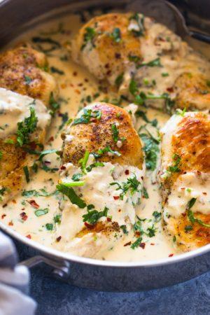 Easy One Skillet Creamy Cilantro Lime Chicken