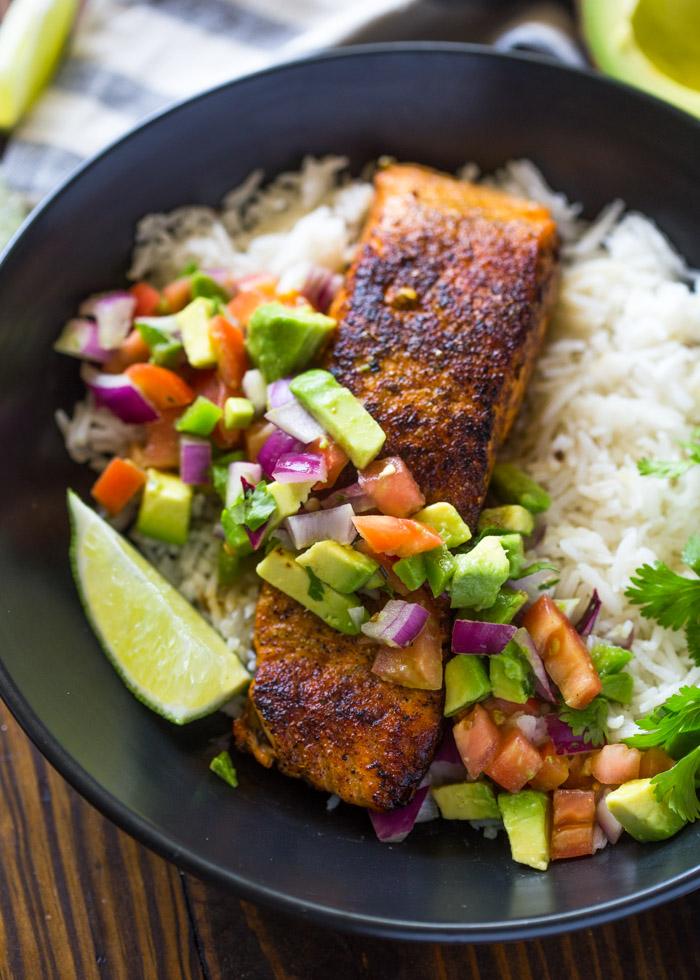 Crispy Salmon & Avocado Salsa Rice Bowls with Cilantro Sauce