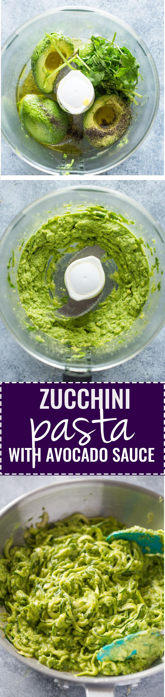 Zuccchini Pasta with avocado sauce