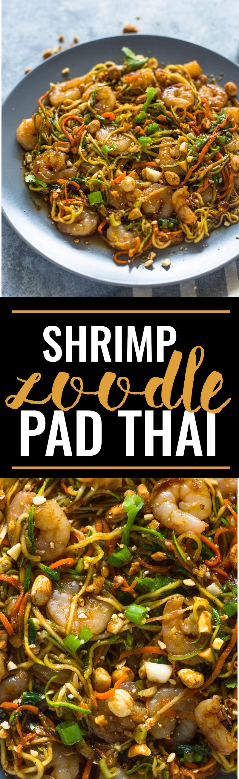 10 Minute Low-Carb Shrimp Zoodle Pad Thai