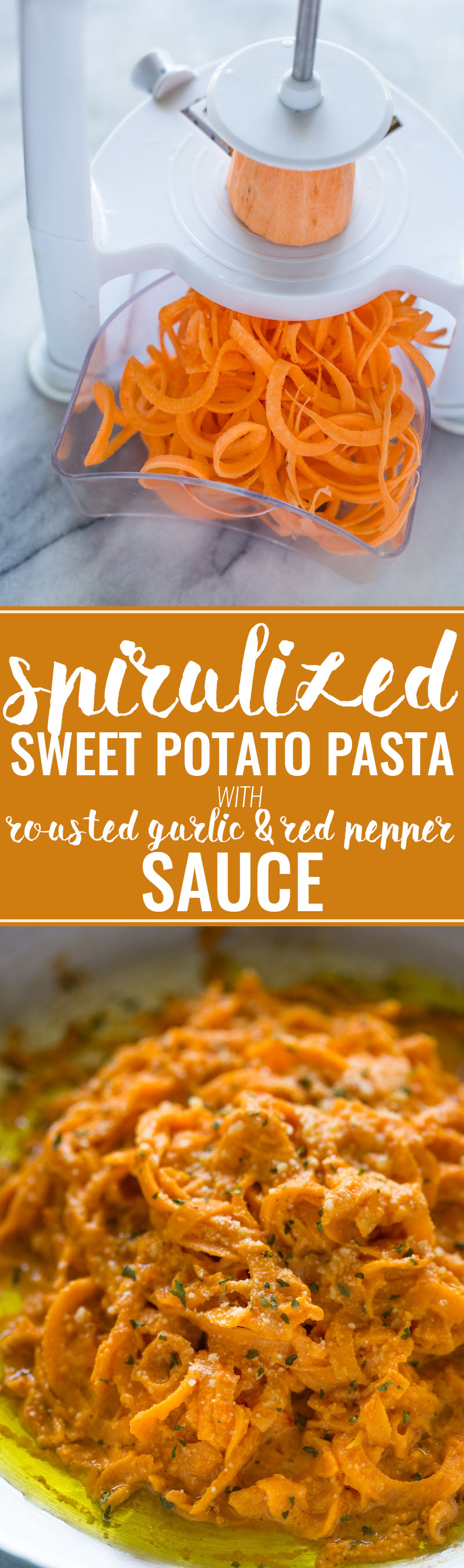 "Spiralized Sweet Potato ""Pasta"" with Roasted Garlic Red Pepper Cream Sauce"