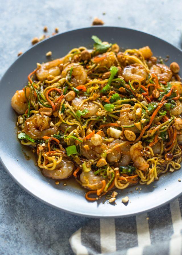 10 Minute Shrimp Zoodle Pad Thai | Gimme Delicious