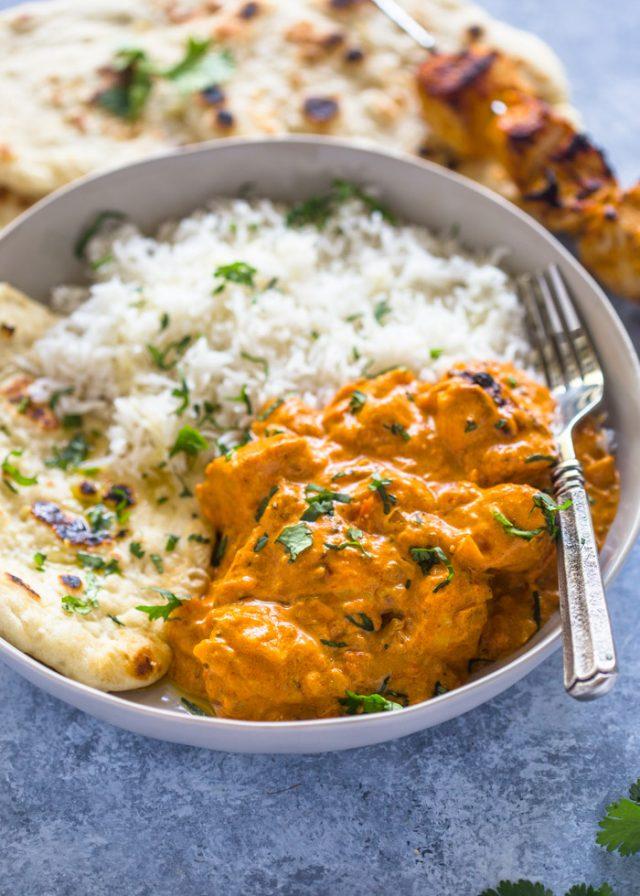 Easy Chicken Tikka Masala with Stove-Top Garlic Naan | Gimme Delicious
