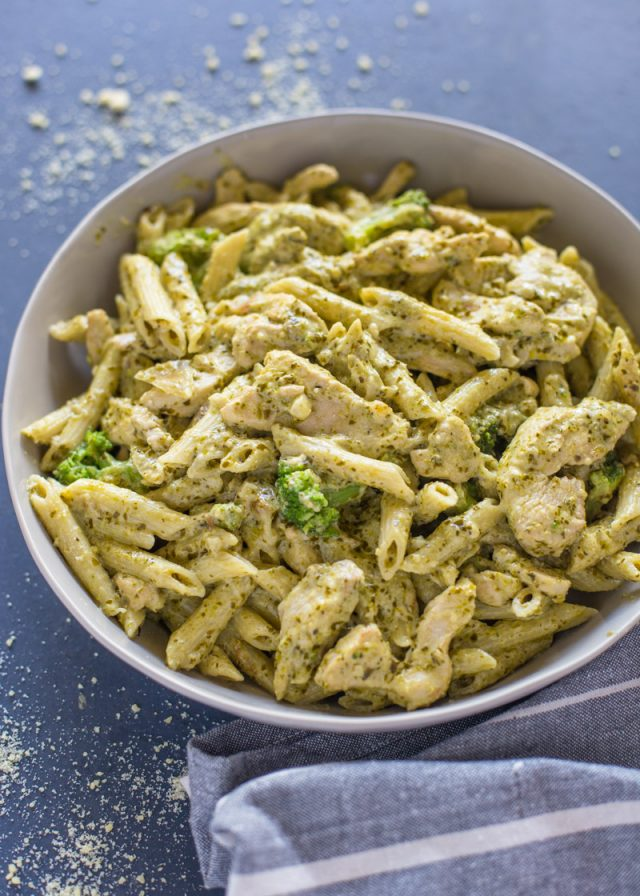 Easy Pesto Chicken and Broccoli Pasta | Gimme Delicious