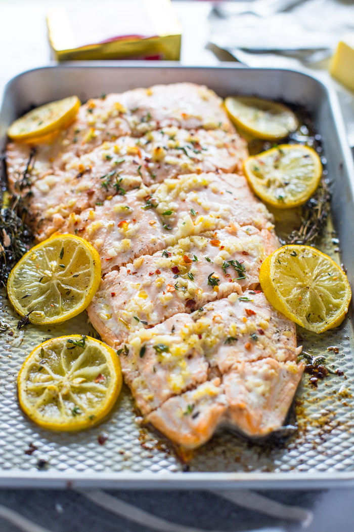 4 Ingredient Roasted Garlic Butter Salmon Gimme Delicious