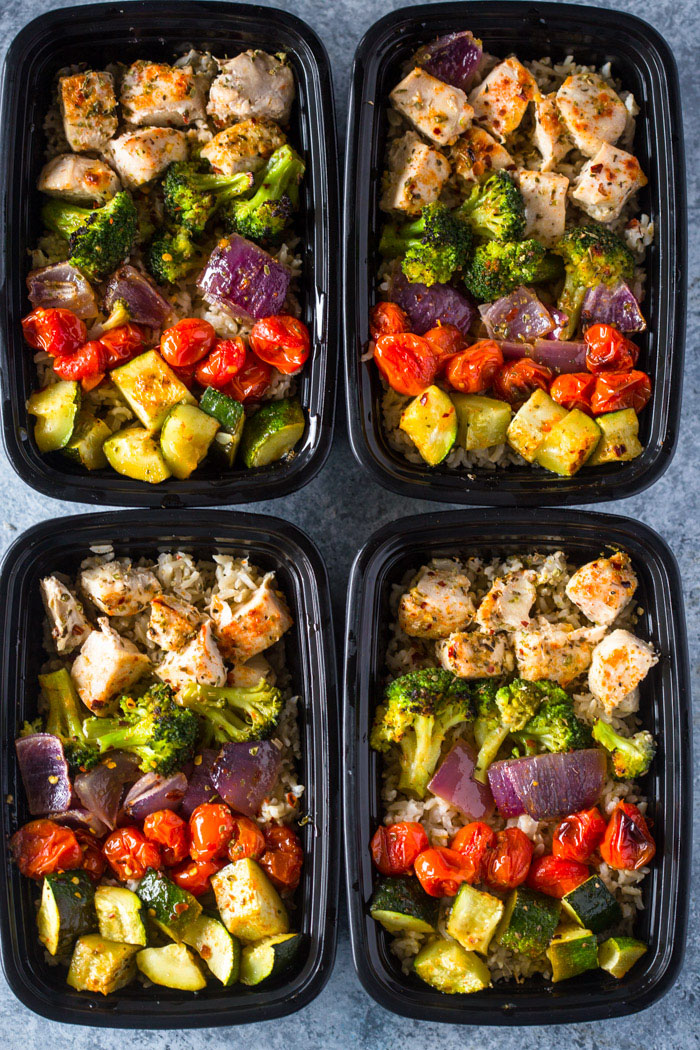 meal prep healthy roasted chicken and veggies
