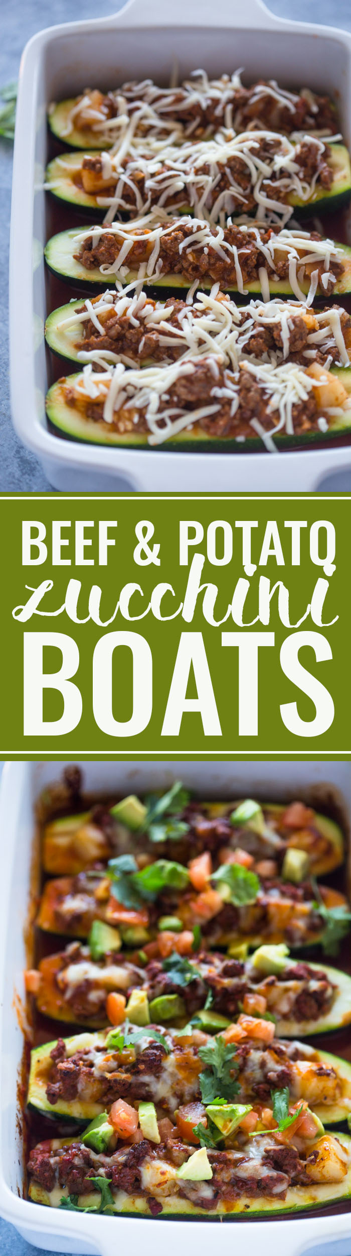 Beef and Potato Zucchini Boats