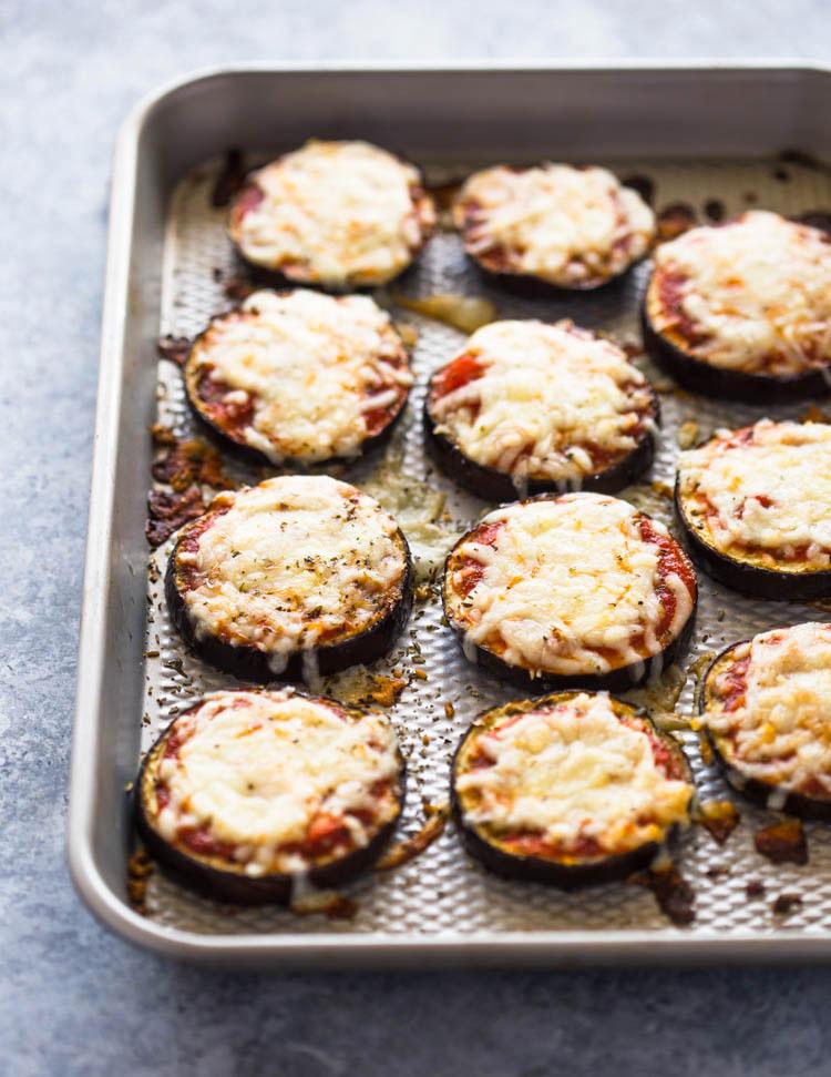low carb eggplant pizza bites