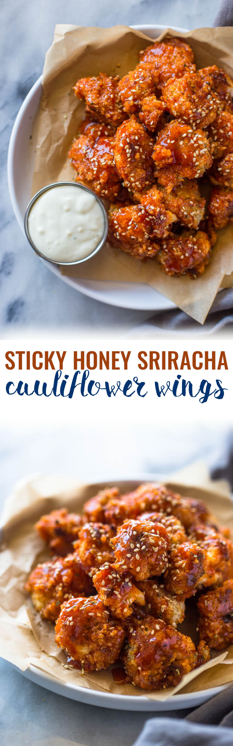 "Sticky Honey Sriracha Cauliflower ""wings"" (Baked or Fried)"