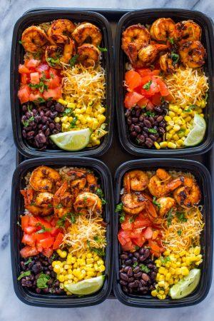 Meal-Prep Shrimp Taco Bowls