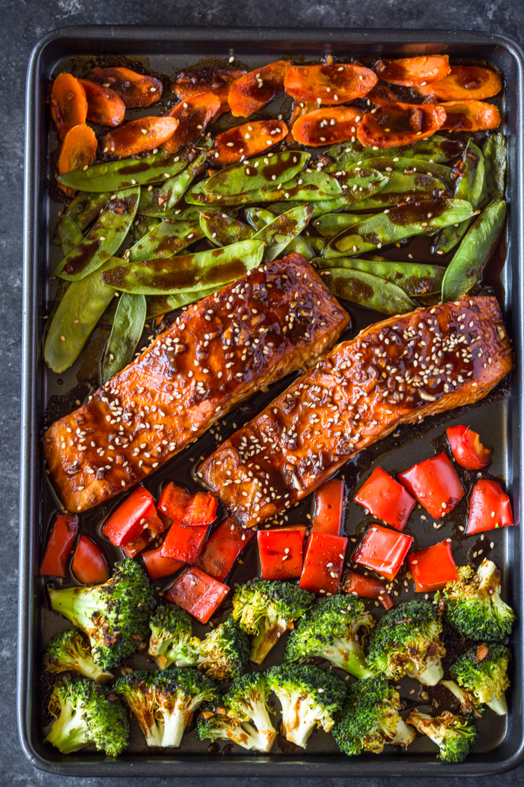 Sheet Pan Teriyaki Salmon Veggies Gimme Delicious