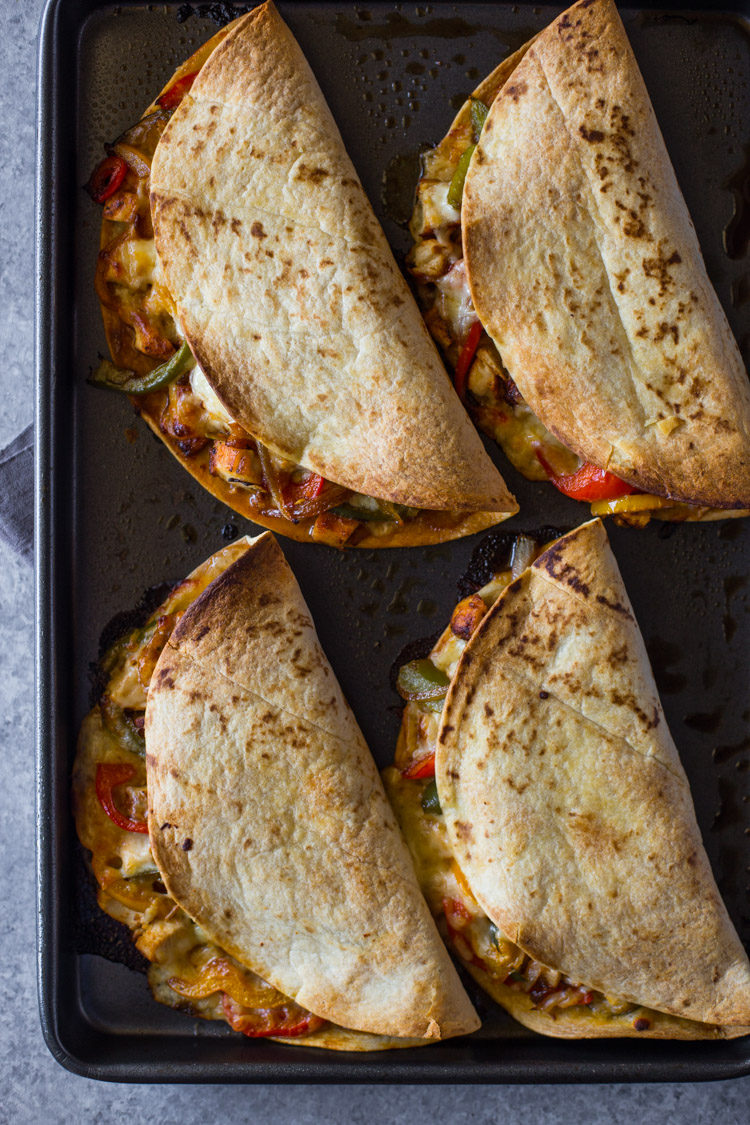 Crispy Baked Chicken Fajita Quesadillas Gimme Delicious