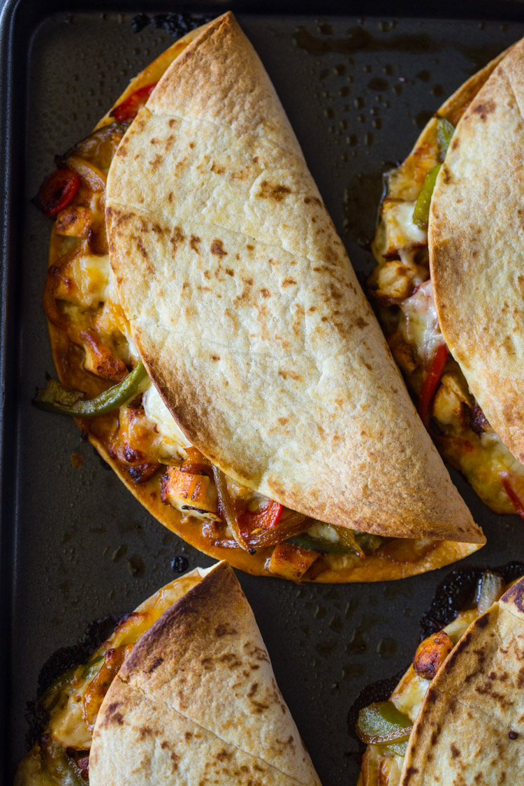 Crispy Baked Chicken Fajita Quesadillas