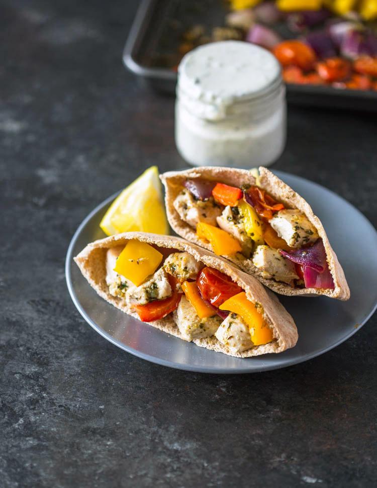Sheet Pan Greek Chicken & Veggies + Pita Pockets