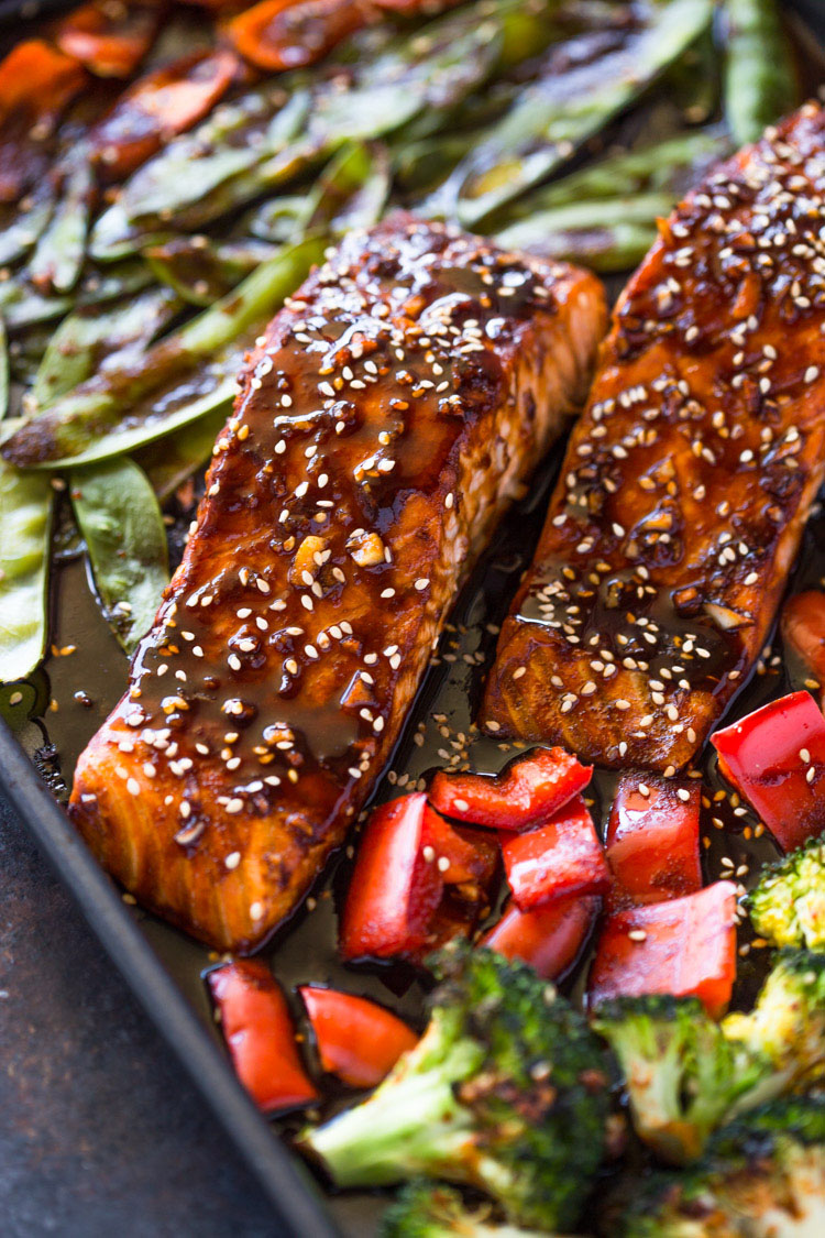Sheet Pan Teriyaki Salmon Amp Veggies Gimme Delicious