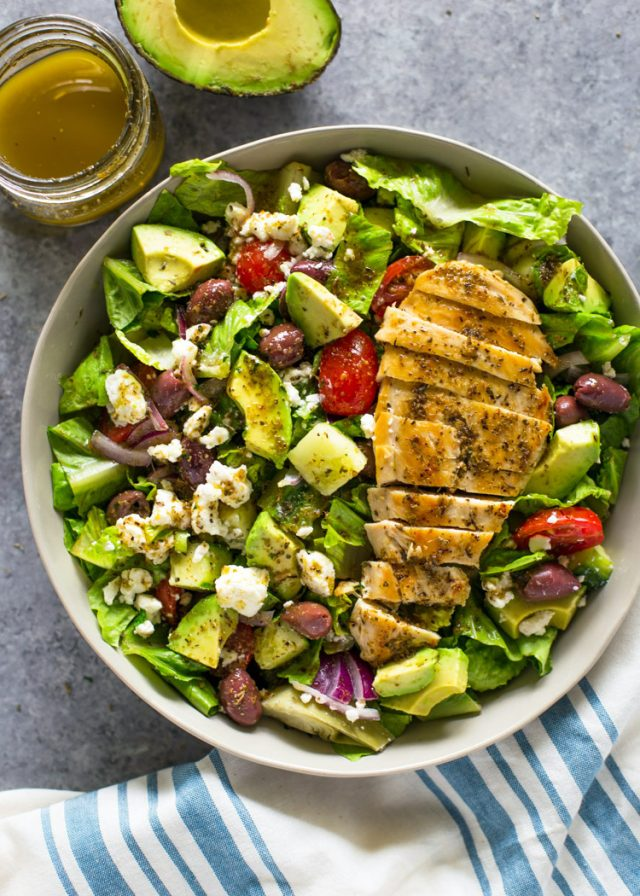 Greek Avocado & Grilled Chicken Salad with Greek Dressing | Gimme ...