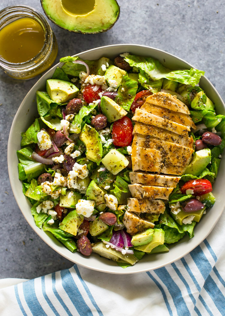 Greek Avocado Grilled Chicken Salad With Greek Dressing Gimme