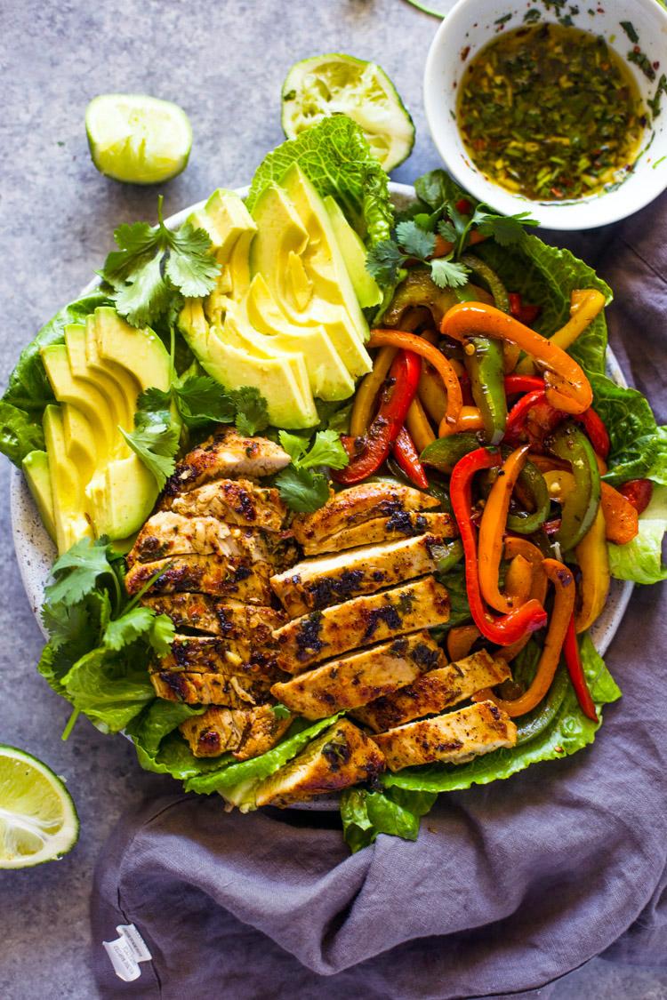 Skinny Grilled Chicken Fajita Amp Avocado Salad Gimme Delicious