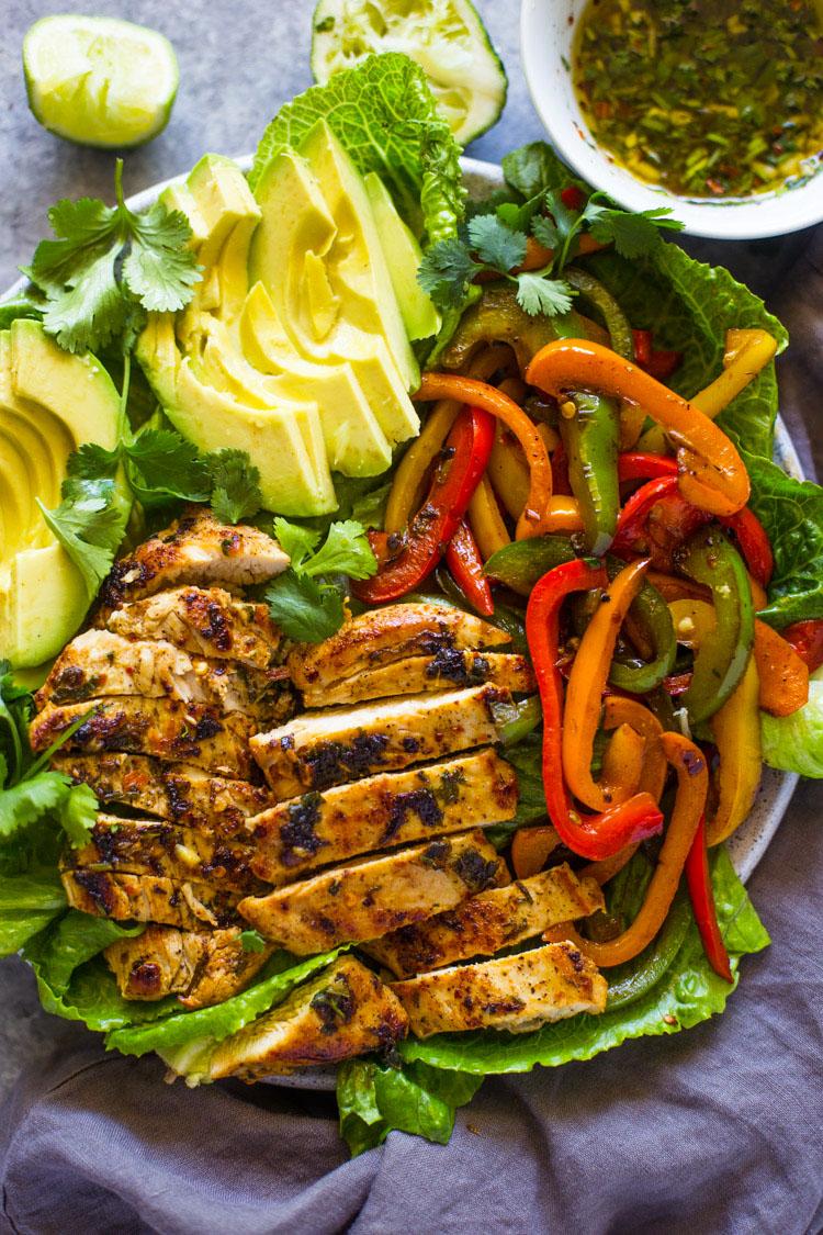 Grilled Fajita Chicken Avocado Salad