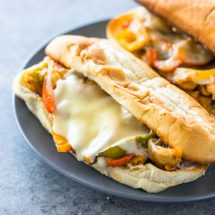 Cheesy Chicken Cheesesteak Sandwiches + Giveaway!