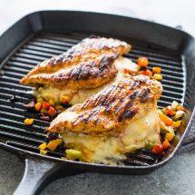 Cheese and Pepper stuffed Grilled Chicken Breasts +Giveaway!