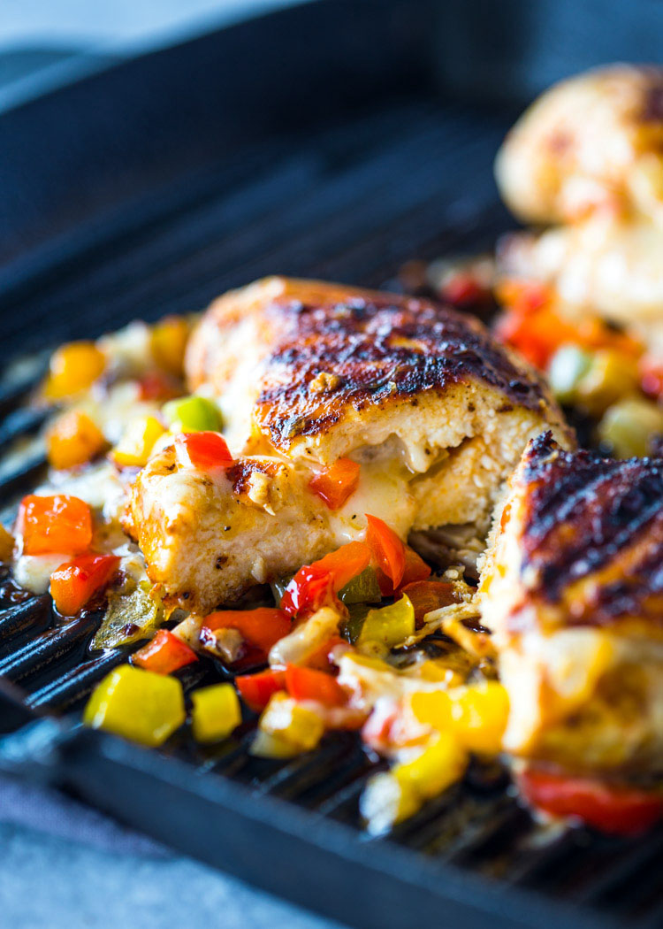 Cheese And Pepper Stuffed Grilled Chicken Breasts