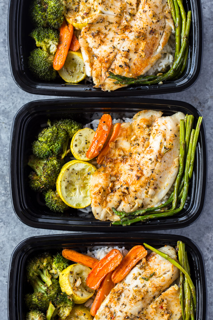 Healthy sheet pan tilapia and veggies meal prep for Different meals to make with chicken