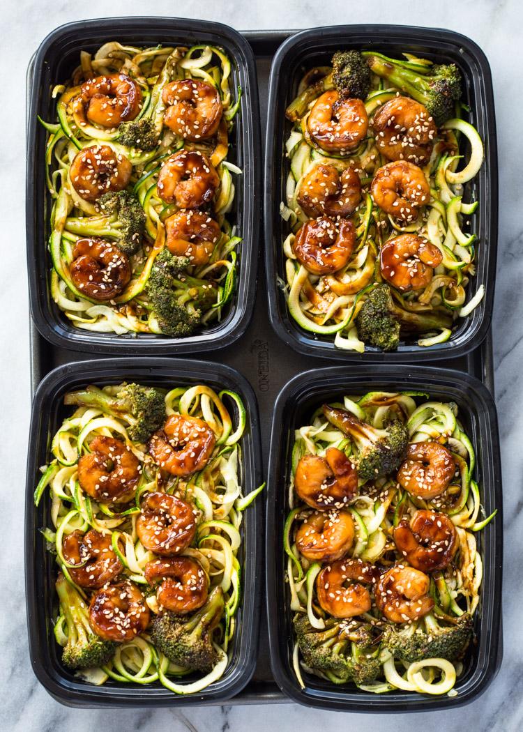 Shrimp Teriyaki Zucchini Noodles Meal-Prep (174 calories!)