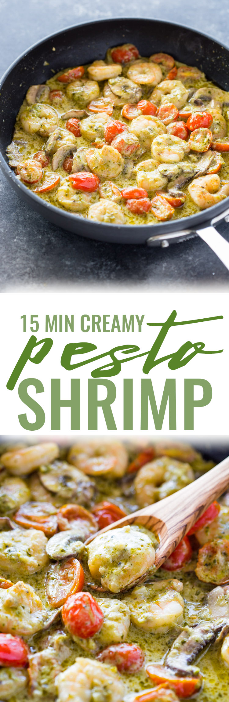 Creamy Garlic Pesto Shrimp (15 Minute meal!)
