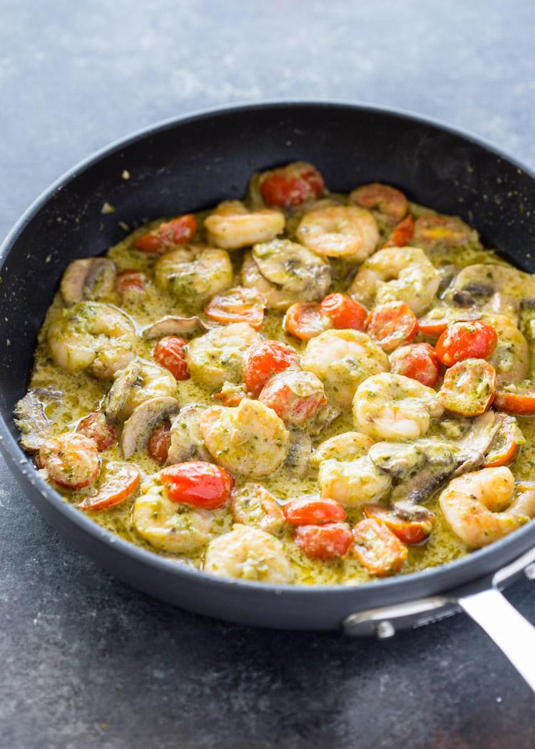 Creamy Garlic Pesto Shrimp (15 Minute meal!)