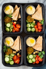 Falafel Hummus and Salad Meal-Prep Bento Boxes