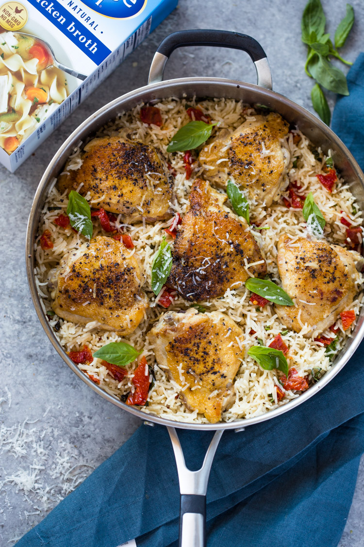 One Pan Chicken and Rice with Sun-dried tomato, Parmesan and Basil