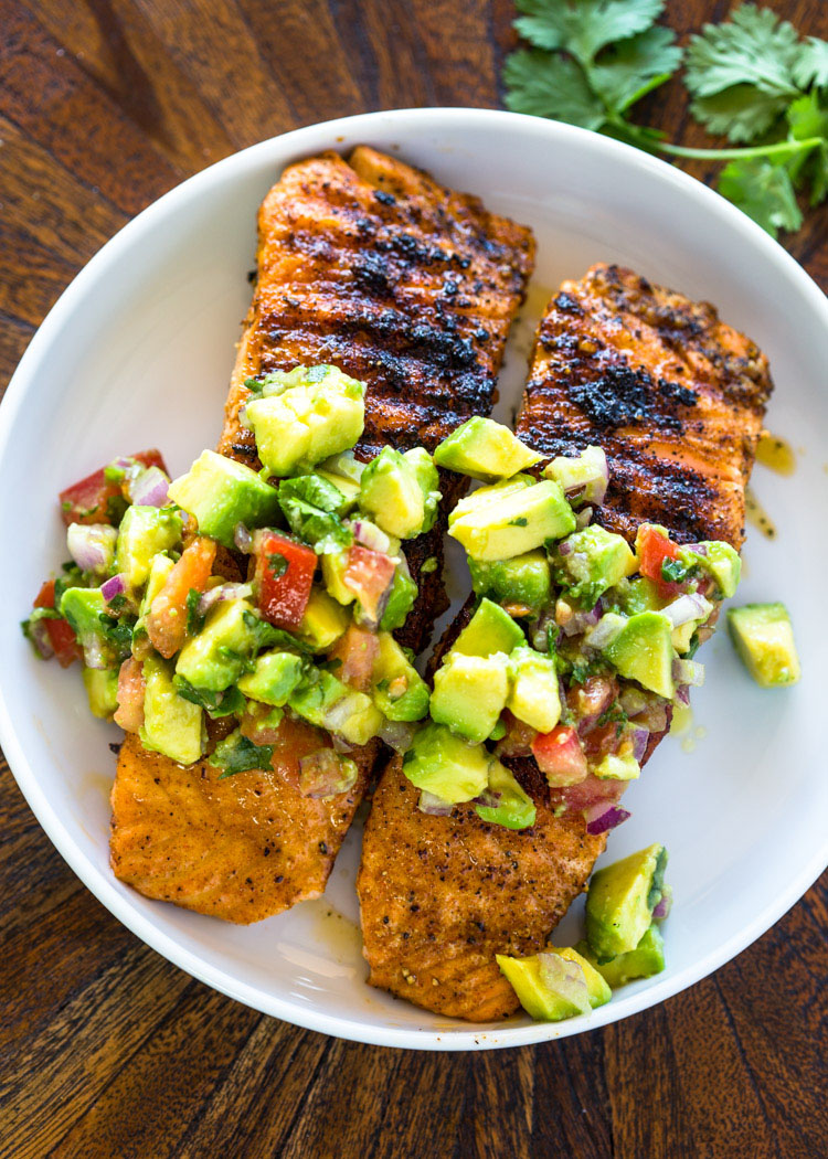 Salmon With Avocado Salsa Low Carb Paleo Whole30 Healthy