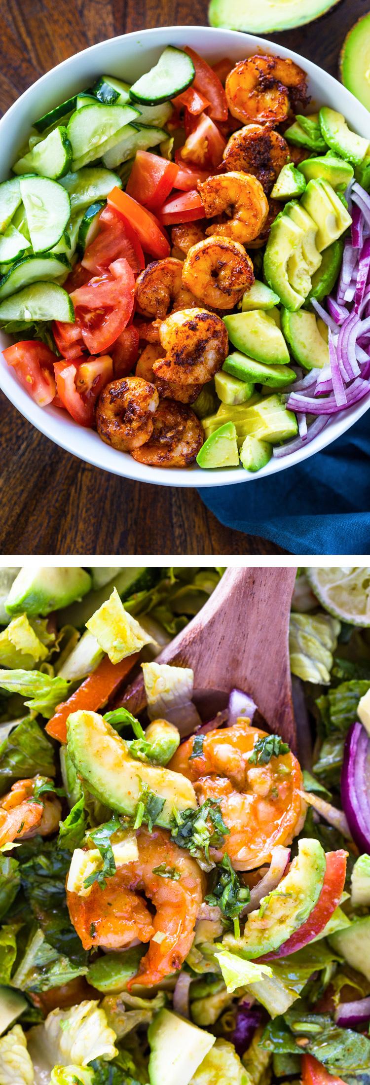 Skinny Shrimp & Avocado Salad with Cilantro Lime Dressing