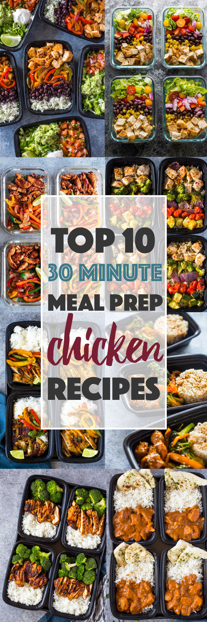 Top 10 (30 Minute) Meal-prep Chicken Recipes #healthy #mealprep #recipes #top #best #quick #mealprepping