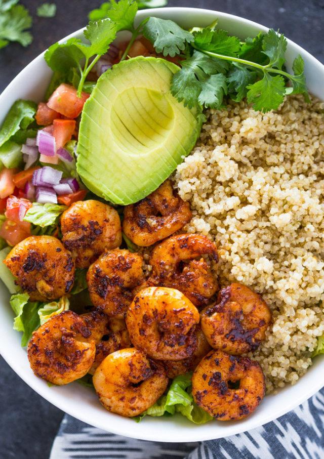 Shrimp Avocado Quinoa Bowls Gimme Delicious